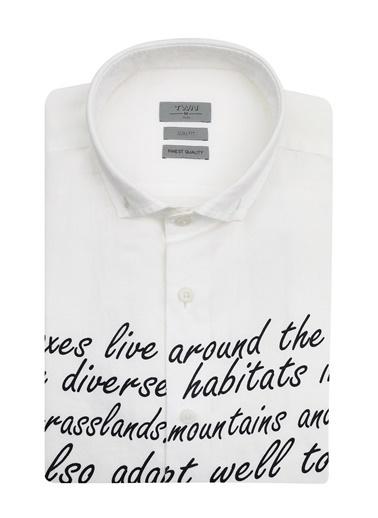 TWN Slim Fit Düz Keten Gömlek Beyaz